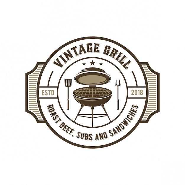Vintage grill-logo Premium Vektoren