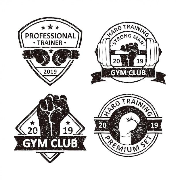 Vintage gym club abzeichen Premium Vektoren