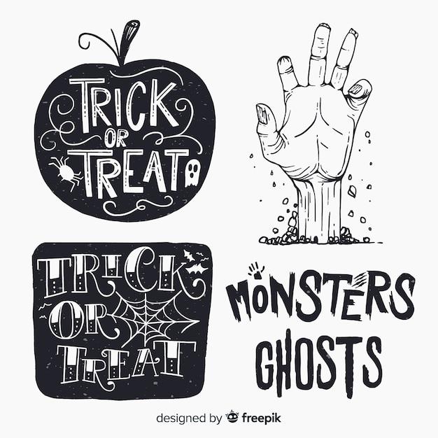 Vintage halloween etiketten gesetzt Kostenlosen Vektoren