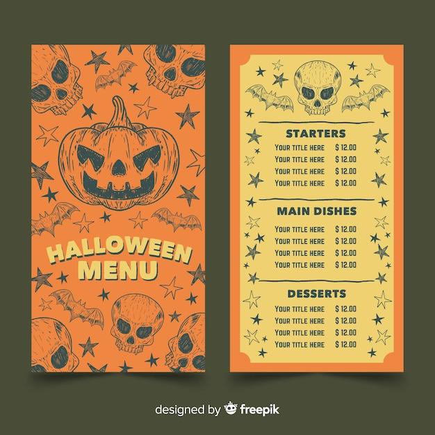 Vintage halloween menüvorlage mit kürbis Kostenlosen Vektoren