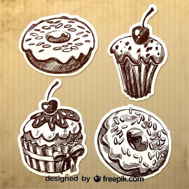 Vintage Hand Gezeichnete Kuchen Design Download Der Kostenlosen Vektor