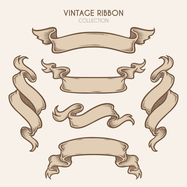 Vintage hand gezeichnete ribbon collection Premium Vektoren