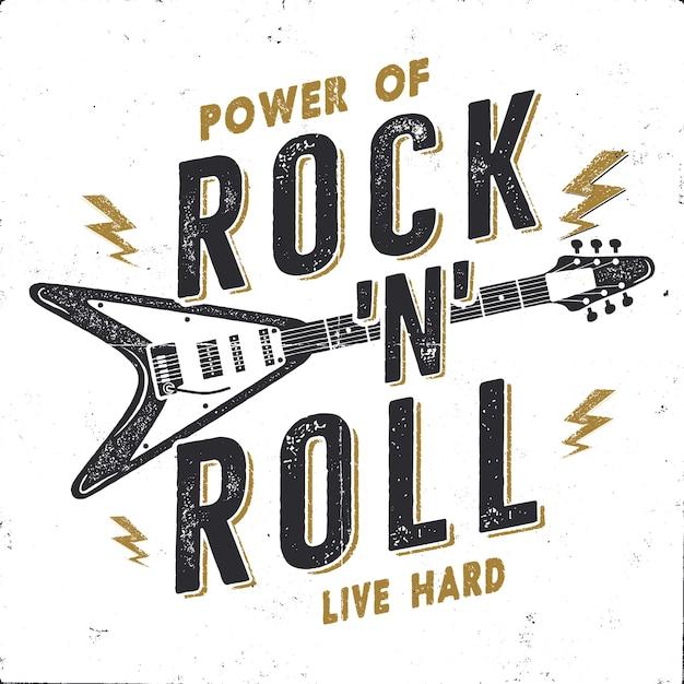 Vintage hand gezeichnete rock n roll poster Premium Vektoren