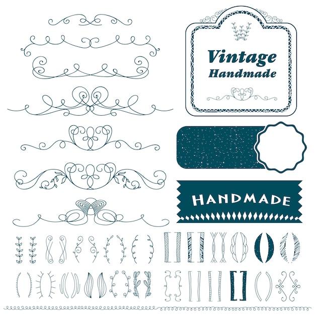 Vintage handgezeichnete trennlinien festgelegt Premium Vektoren