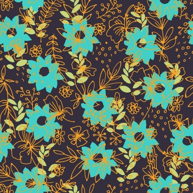 Vintage Hintergrund Mit Blauen Blüten Download Der Kostenlosen Vektor