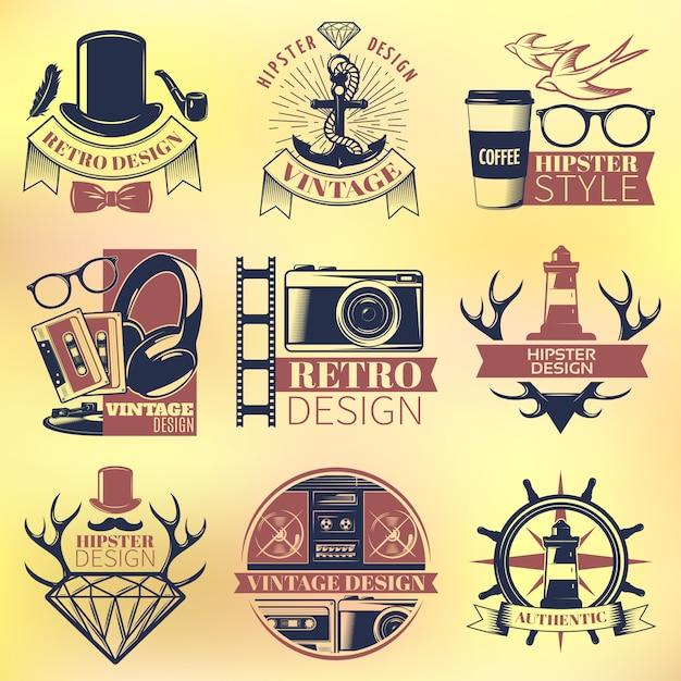 Vintage hipster farbige embleme set Premium Vektoren