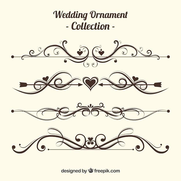 Vintage Hochzeit Ornament Sammlung Download Der Kostenlosen Vektor