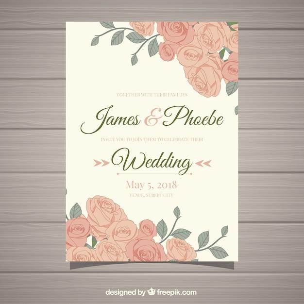 Vintage Hochzeitseinladung Mit Schonen Blumen Download Der