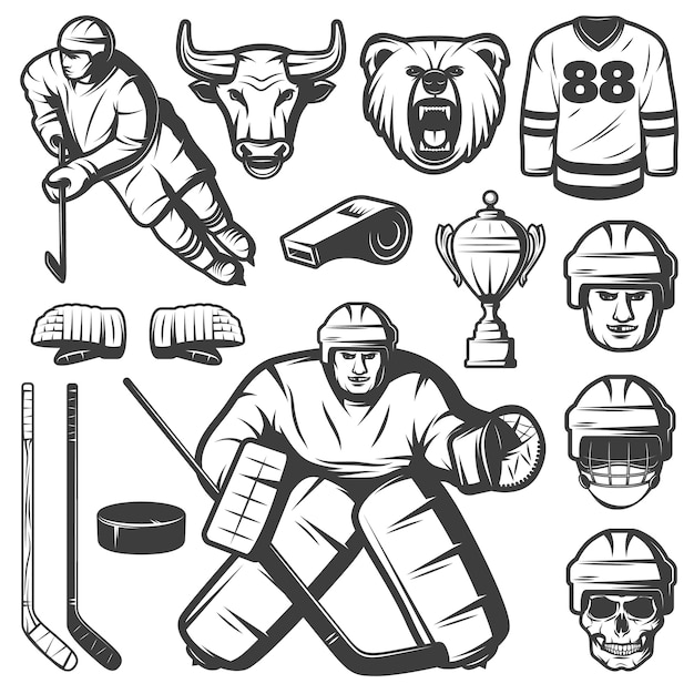 Vintage hockey elements set Kostenlosen Vektoren
