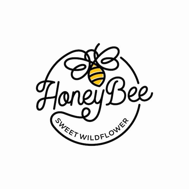 Vintage honigbiene logo vorlage Premium Vektoren