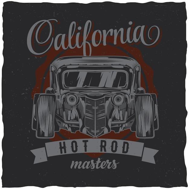 Vintage hot rod t-shirt etikettendesign mit illustration des benutzerdefinierten geschwindigkeitsautos. hand gezeichnete illustration. Kostenlosen Vektoren