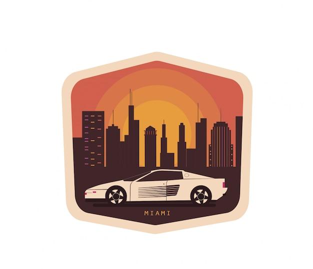 Vintage illustration mit dem auto Premium Vektoren