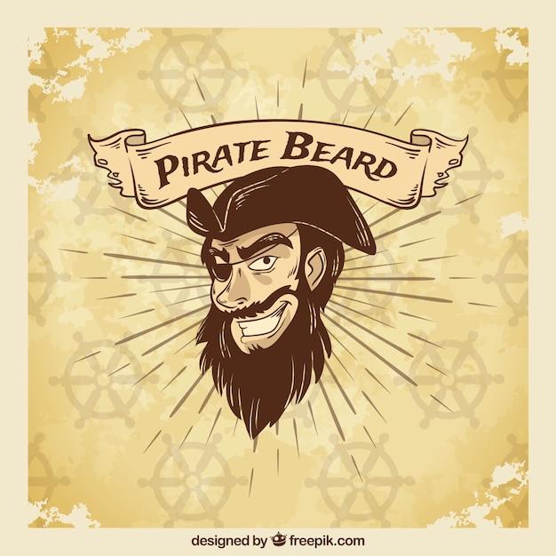 Vintage illustration piraten hintergrund Kostenlosen Vektoren