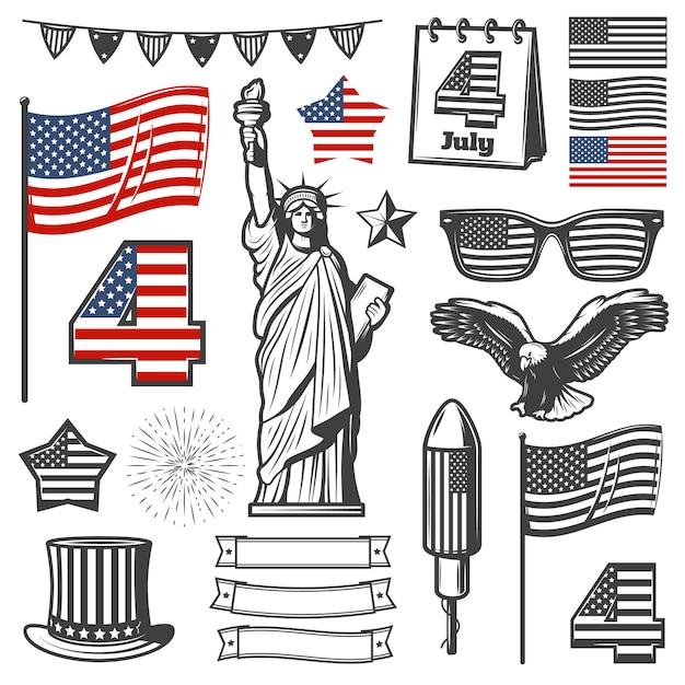 Vintage independence day elements sammlung Kostenlosen Vektoren