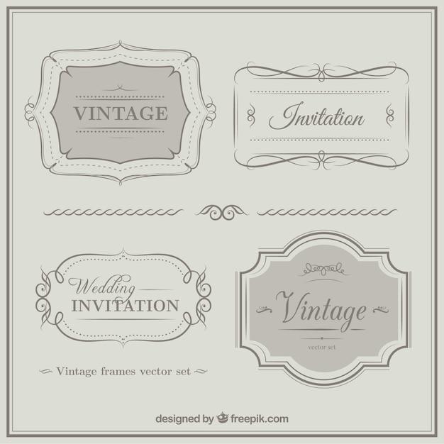 Vintage jäten einladung ornamente Kostenlosen Vektoren
