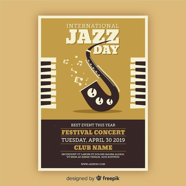 Vintage jazztagesplakatschablone der weinlese Kostenlosen Vektoren