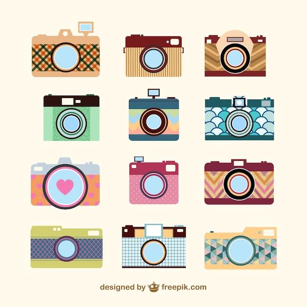 Vintage-kamera-set-vorlage Kostenlosen Vektoren