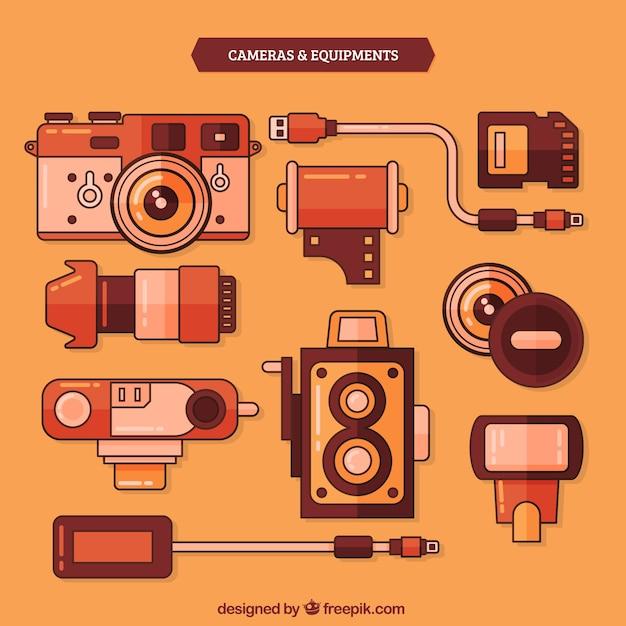 Vintage-kameras und ausrüstung Kostenlosen Vektoren
