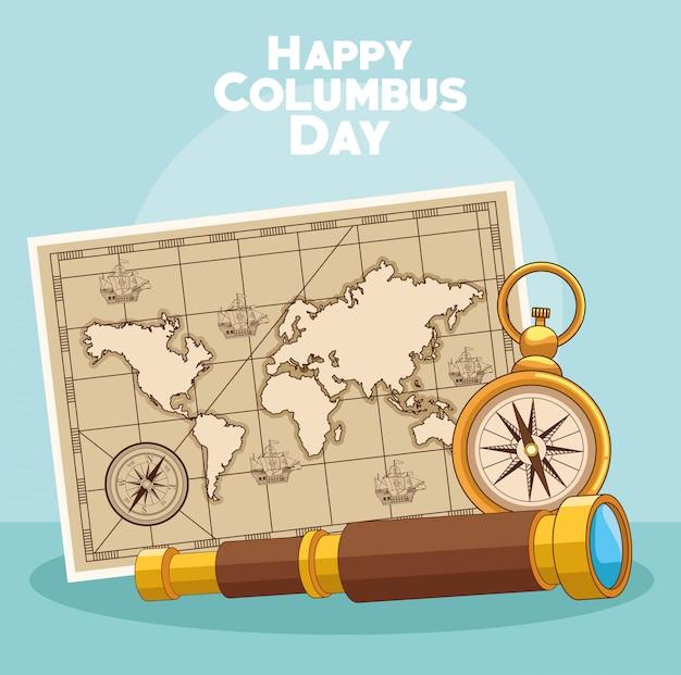 Vintage karte und glücklicher columbus-tagesentwurf Premium Vektoren