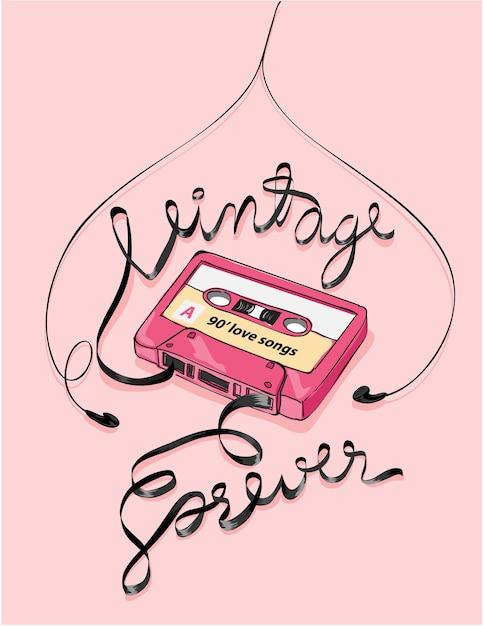Vintage kassettenbandillustration Premium Vektoren