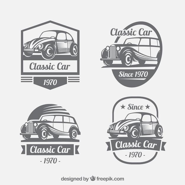 Vintage-Kollektion von Logos mit Oldtimern Kostenlose Vektoren