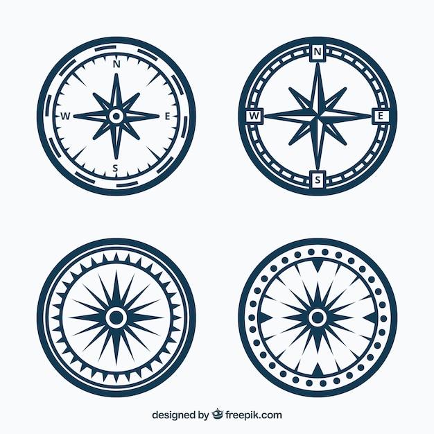 Vintage kompass sammlung Premium Vektoren
