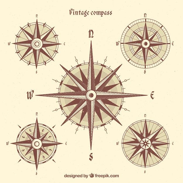 Vintage kompass sammlung Kostenlosen Vektoren
