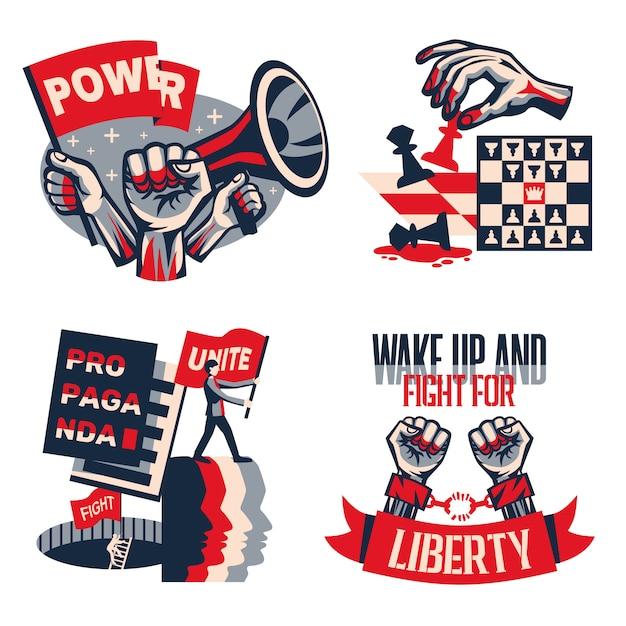 Vintage konstruktivistische zusammensetzungen des politischen slogankonzeptes 4 der revolution, die mit den aufrufen der einheitsfreiheitsfreiheit lokalisiert eingestellt wurden Kostenlosen Vektoren