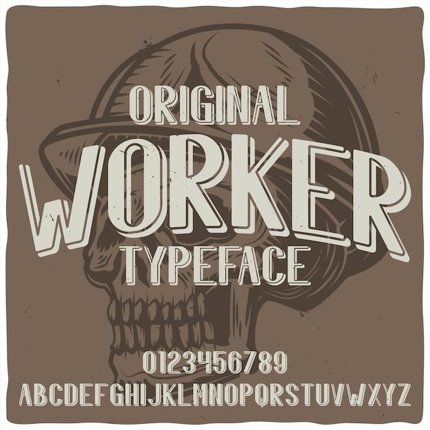 Vintage label schrift mit dem namen