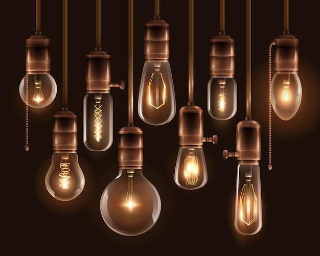Vintage leuchtende glühbirnen-icon-set Kostenlosen Vektoren