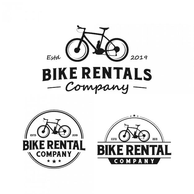 Vintage logo der fahrradvermietung Premium Vektoren