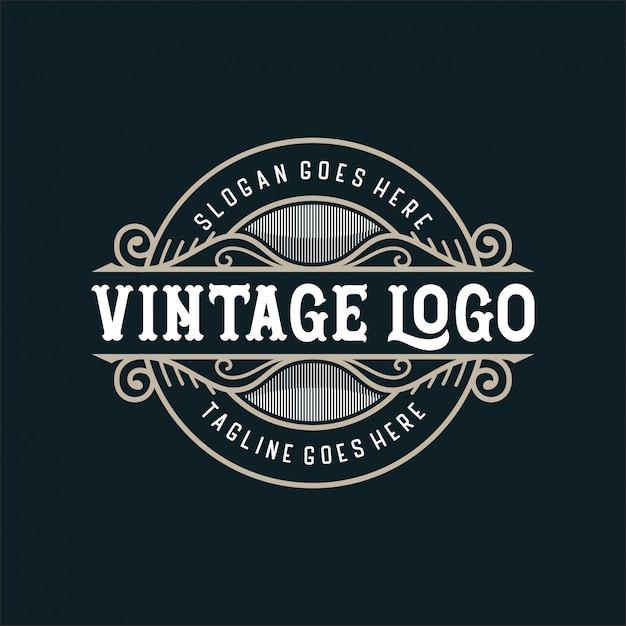 Vintage logo für essen oder restaurant Premium Vektoren