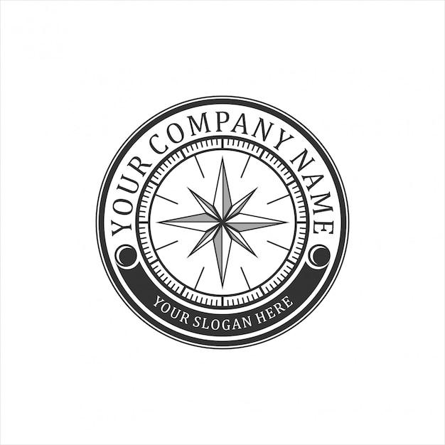 Vintage logo für kompass Premium Vektoren