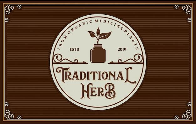 Vintage logo für traditionelle arzneimittel Premium Vektoren