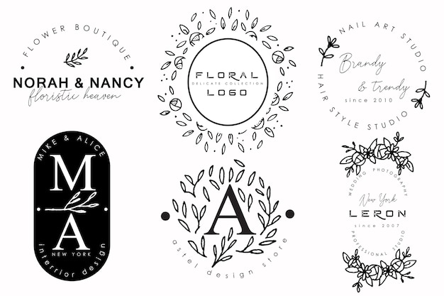 Vintage-logo-kollektion mit floralen ornamenten Premium Vektoren