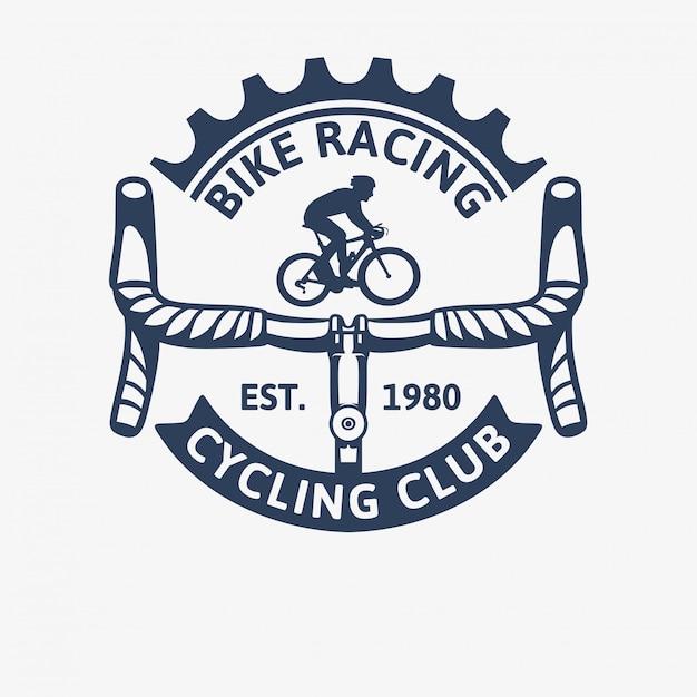 Vintage-logo-schablonenillustration des radrennens des radrennrads Premium Vektoren