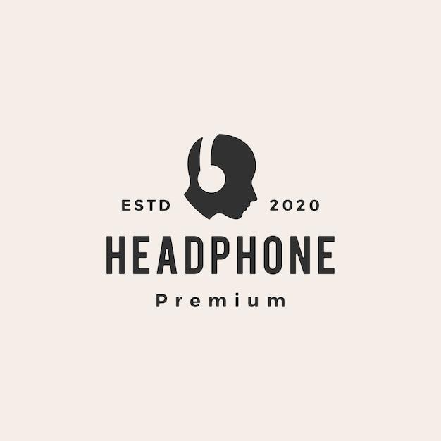 Vintage-logo-symbolillustration des kopfhörer-hipsters Premium Vektoren