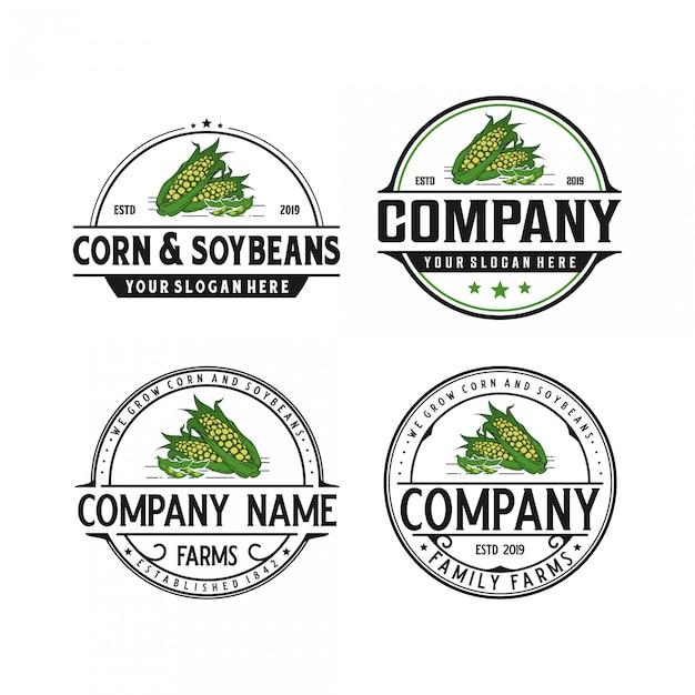 Vintage logoauslegung des mais und der sojabohnen Premium Vektoren