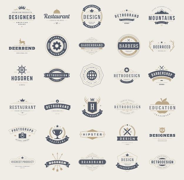 Vintage logos design templates set. Premium Vektoren