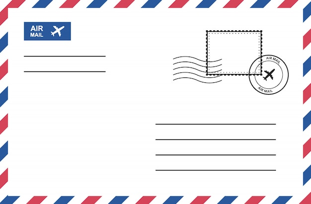Vintage luftpostumschlag mit briefmarke, portokarte. Premium Vektoren