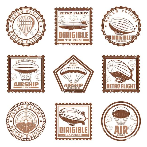 Vintage luftschiff briefmarken mit luftschiffen oder zeppeline heißluftballons propeller isoliert Kostenlosen Vektoren