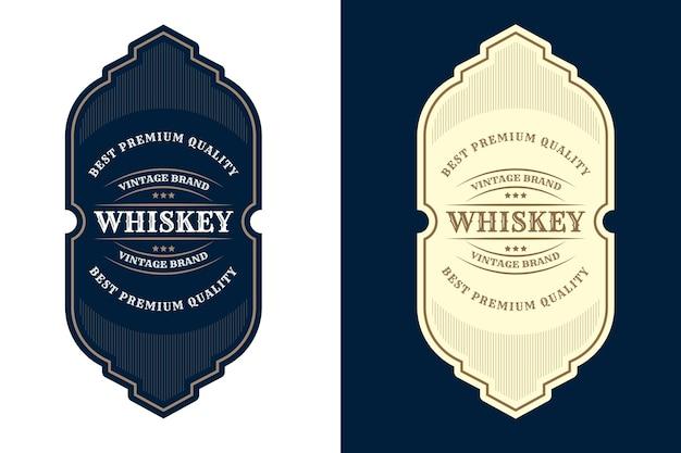 Vintage luxusrahmen logo label für bier whisky alkohol und getränkeflaschen etiketten premium Premium Vektoren