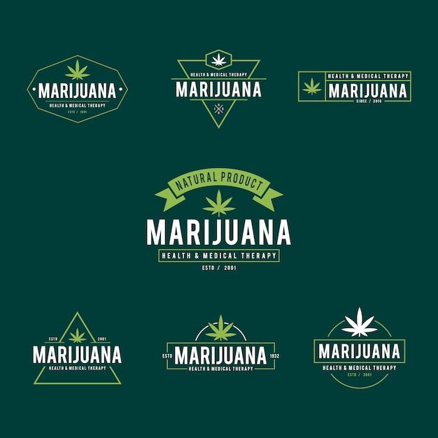 Vintage marihuana cannabis gesundheit therapie etiketten und abzeichen Premium Vektoren