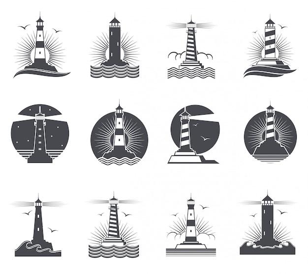Vintage marineaufkleber des leuchtturmes, leuchttürme und retro- seelogosatz der meereswogen Premium Vektoren