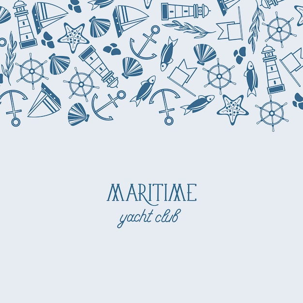 Vintage maritime mit inschrift und handgezeichneten nautischen und marinen elementen Kostenlosen Vektoren