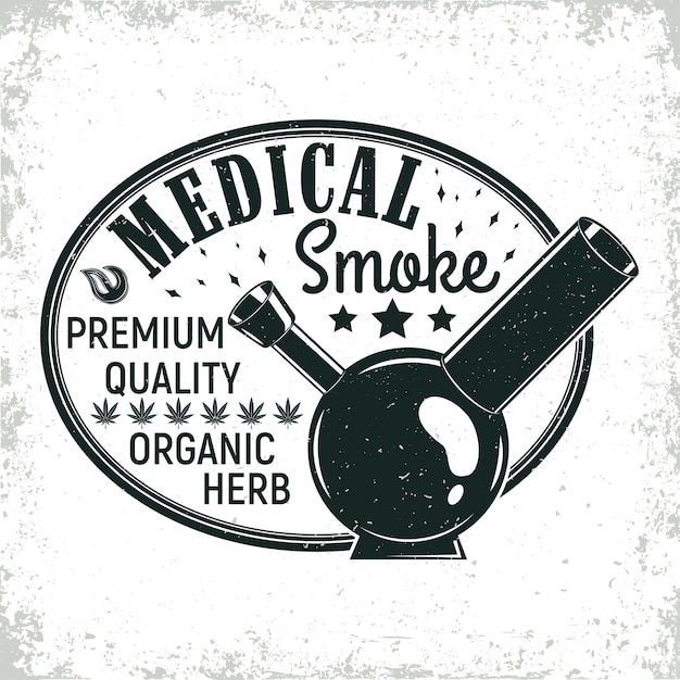 Vintage medizinisches cannabis-logo-design, grange-druckstempel, kreatives marihuana-typografie-emblem Premium Vektoren