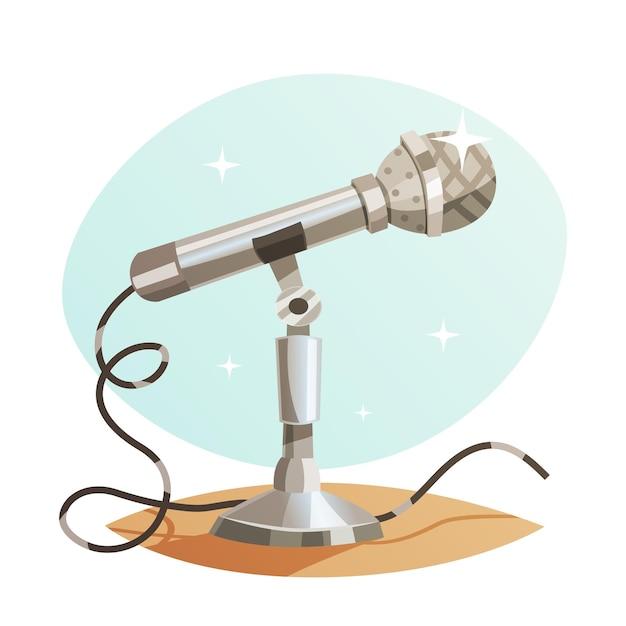 Vintage metallmikrofon Premium Vektoren
