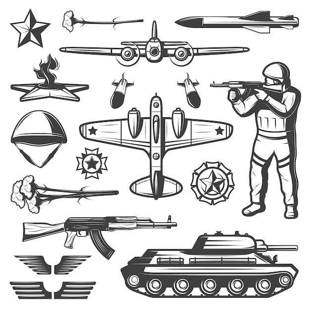 Vintage militärische elemente sammlung Kostenlosen Vektoren