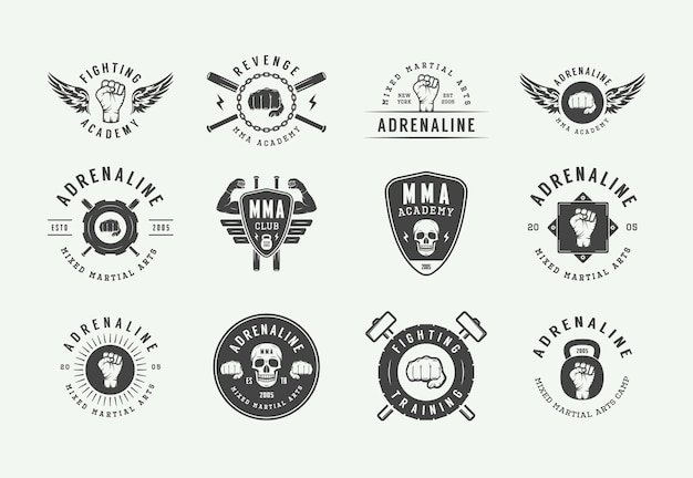 Vintage mixed martial arts oder fighting club logos Premium Vektoren