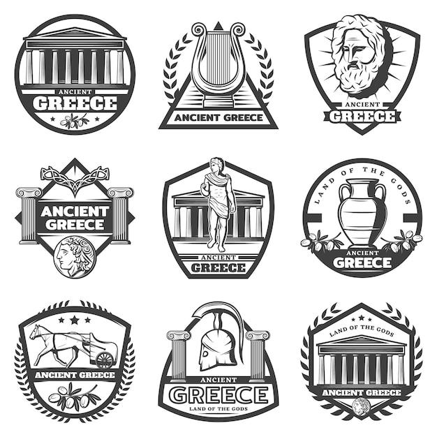 Vintage monochrom antike griechenland etiketten set Kostenlosen Vektoren